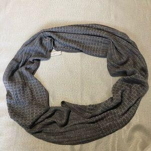LOFT Gray Infinity Scarf w/ Metallic Accents